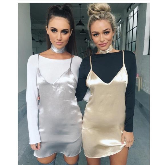 ef2f0eefeb31 Mint Vanilla Dresses | Nwt Lf Silver Satin Slip Dress With Choker ...